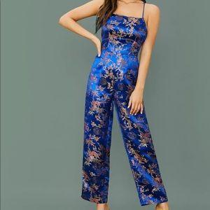 NEW Blue Lace Up Floral Jacquard Jumpsuit